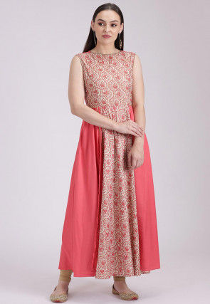 Printed Cotton Viscose Flared Long Kurta in Off White and Peach