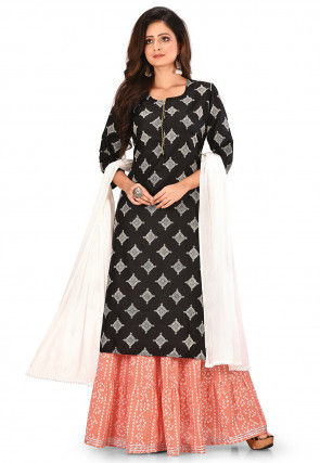 Printed Cotton Viscose Lehenga in Black