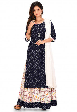 Printed Cotton Viscose Lehenga in Navy Blue