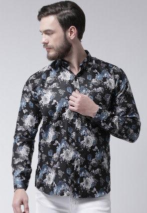 Printed Cotton Viscose Shirt in Black