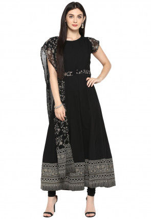 Printed Crepe A Line Kurta in Black
