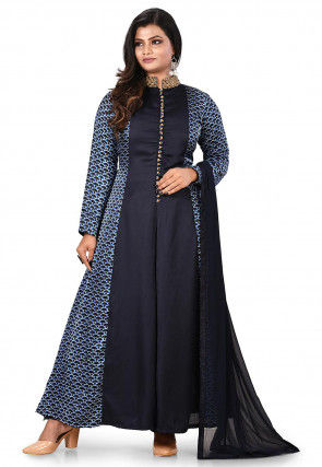 Printed Crepe Abaya Style Suit in Navy Blue