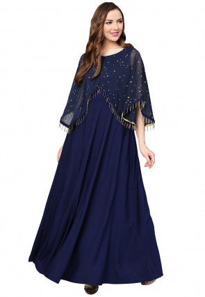 Printed Crepe Cape Style Gown in Navy Blue