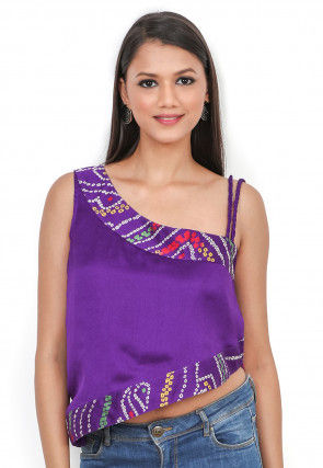 Printed Crepe Crop Top in Purple