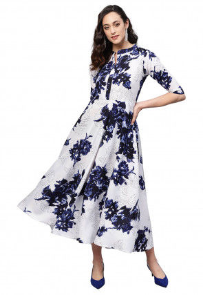 Printed Crepe Dress in White and Blue
