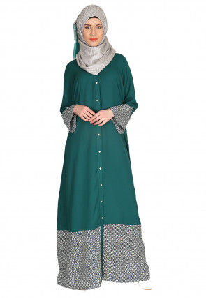 Printed Crepe Front Open Abaya in Teal Green