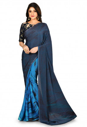 Printed Crepe Half N Half Saree in Blue and Black
