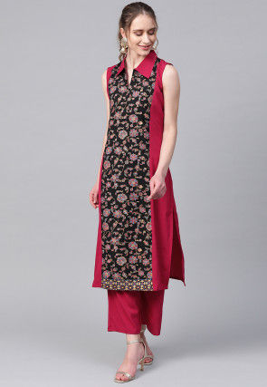 Printed Crepe Kurta in Maroon and Black