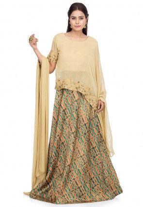 Printed Crepe Lehenga in Beige and Teal Green