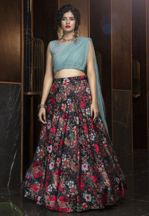 Printed Crepe Lehenga in Black