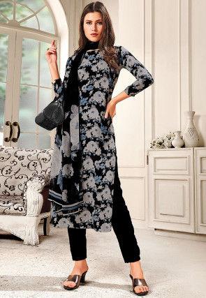 Printed Crepe Pakistani Suit in Black