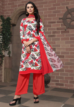 Printed Crepe Pakistani Suit in Multicolor