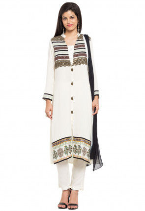 Printed Crepe Pakistani Suit in Off White