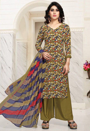 Printed Crepe Pakistani Suit in Olive Green