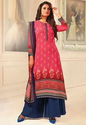 Printed Crepe Pakistani Suit in Pink