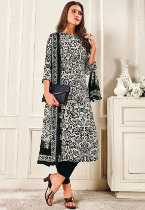 Printed Crepe Pakistani Suit in White