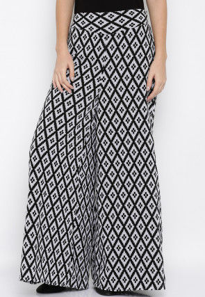 Printed Crepe Palazzo in Black and White