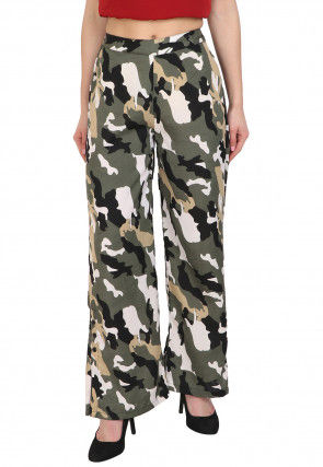Printed Crepe Palazzo in Dusty Green