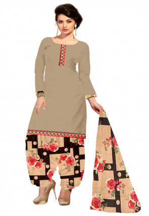 Printed Crepe Punjabi Suit in Beige