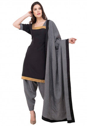 Printed Crepe Punjabi Suit in Black