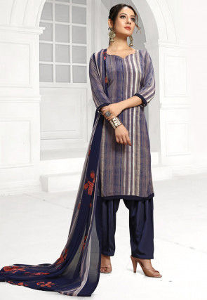 Printed Crepe Punjabi Suit in Blue and Off White
