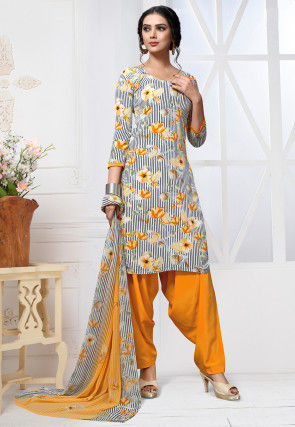 Printed Crepe Punjabi Suit in Off White