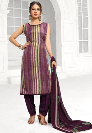 Printed Crepe Punjabi Suit in Purple and Off White