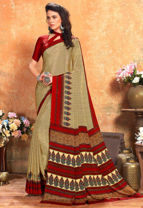 Printed Crepe Saree in Beige