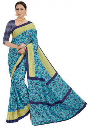 Printed Crepe Saree in Blue