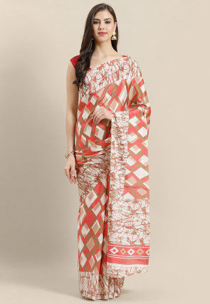 Printed Crepe Saree in Coral Pink and Beige