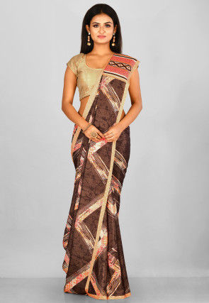 Printed  Crepe Saree in Dark Brown