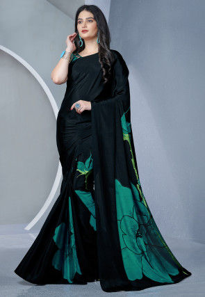 Printed Crepe Saree in Black