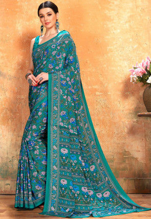 Printed Crepe Saree in Dark Teal Green