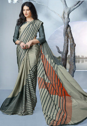Printed Crepe Saree in Dusty Green and Grey