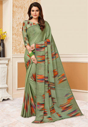Printed Crepe Saree in Dusty Green