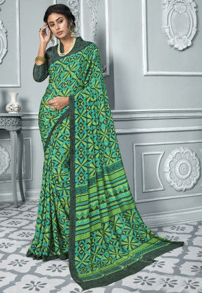 Printed Crepe Saree in Green