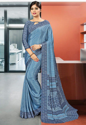 Printed Crepe Saree in Light Blue
