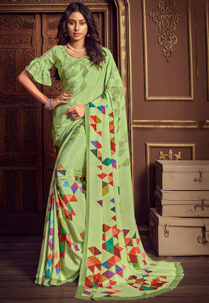 Printed Crepe Saree in Light Green