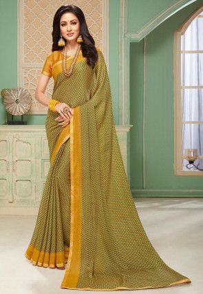 Printed Crepe Saree in Mustard and Green