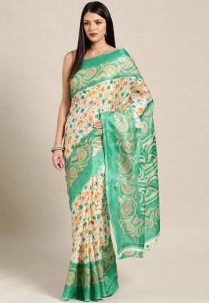 Printed Crepe Saree in Off White and Green