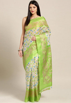 Printed Crepe Saree in Off White and Light Green