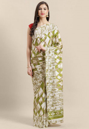 Printed Crepe Saree in Olive Green and White