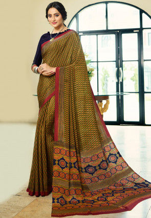 Printed Crepe Saree in Olive Green