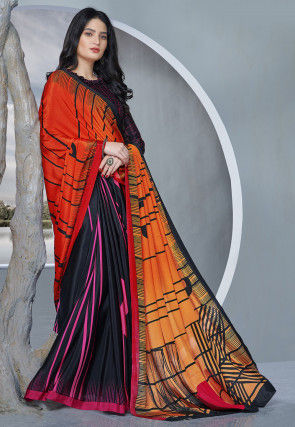 Printed Crepe Saree in Orange and Black