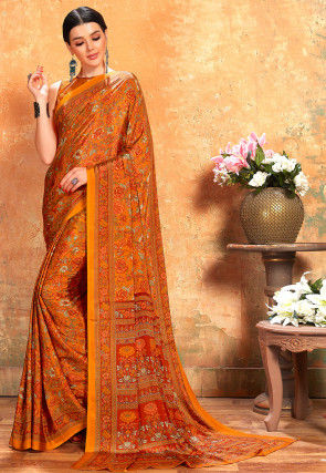 Printed Crepe Saree in Orange