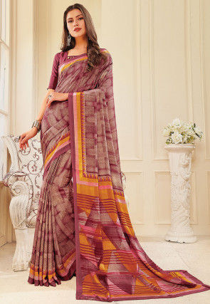 Printed Crepe Saree in Pink