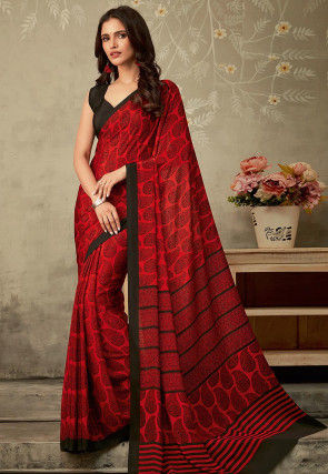Printed Crepe Saree in Red