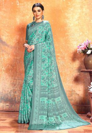 Printed Crepe Saree in Sea Green