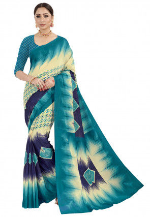 Printed Crepe Saree in Turquoise and Cream
