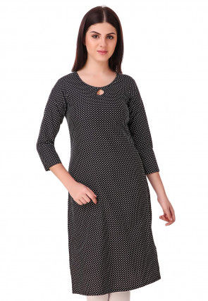 Printed Crepe Straight Kurta in Black